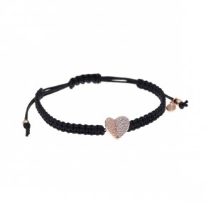 Bracelet silver 925 with black cord macrame, pink gold plated and white zirconia