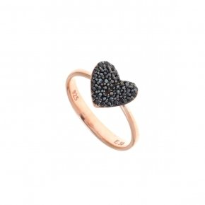 Ring Silver 925, pink gold plated with black spinel
