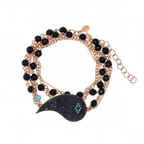 Bracelet in silver 925, pink gold plated with onyx, black and turquasezirconia