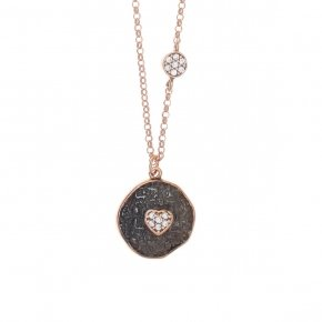 Necklace silver 925 lenght 40 cm (with extra 5cm exte), pink gold plated, black rhodium and white zirconia