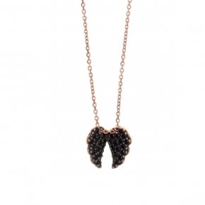 Necklace in silver 925, pink gold plated with blackspinel