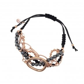 Bracelet out of metal pink gold plated, with onyx and hematite