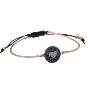 Bracelet silver 925 pink gold plated, black cord macrame, black spinels and turquoise stones