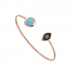 Bracelet silver 925 bangle pink gold plated, black spinels and turquoise stones