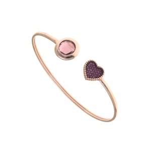 Bracelet silver 925 bangle pink gold plated, red zirconia and purple crystal
