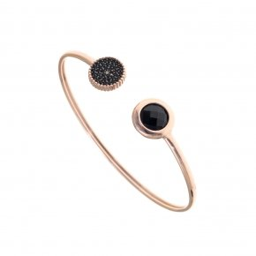 Bracelet silver 925 bangle pink gold plated, black spinels and black crystal