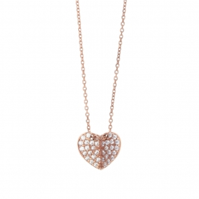 Necklace silver 925 lenght 40 cm (with extra 5cm exte), pink gold plated white zirconia