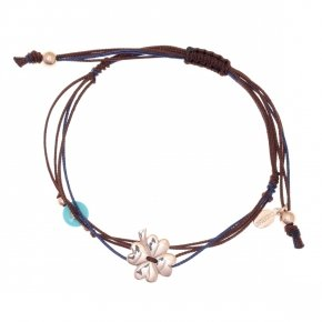 Bracelet silver 925 pink gold plated two color cord and turquoise evil eye