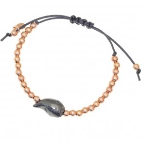 Bracelet out of metal with grey cord and pink gold plated