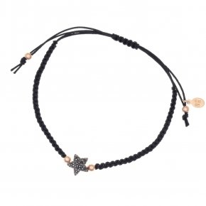 Bracelet silver 925 with black cord macrame, pink gold plated and black spinels
