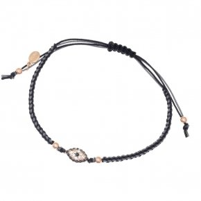 Bracelet silver 925 with two color cord macrame, pink gold plated and white zirconia