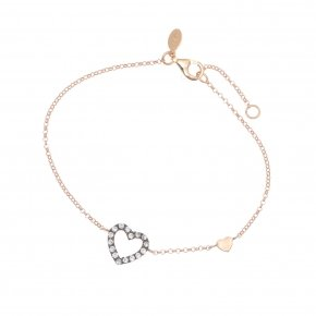 Bracelet silver 925 lenght 16,5 cm (with extra 2cm exte), pink gold plated and grey zirconia