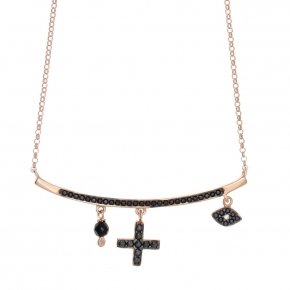 Necklace silver 925 lenght 40 cm (with extra 5cm exte), pink gold plated and black spinels
