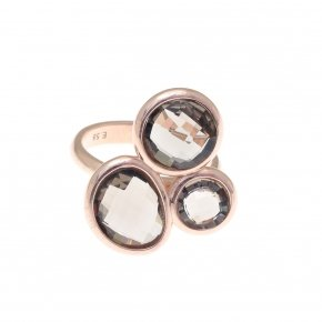 Ring silver 925 pink gold plated and smoke crystals