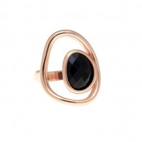 Ring silver 925 pink gold plated and black crystals