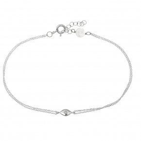 Bracelet in white gold 14 carats with white diamonds tw0,01 ct