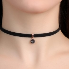 Cord Necklace in silver 925, Choker pink gold plated withblack spinel