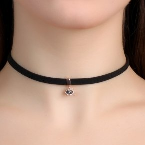 Cord Necklace in silver 925 Choker pink gold plated with black spinel