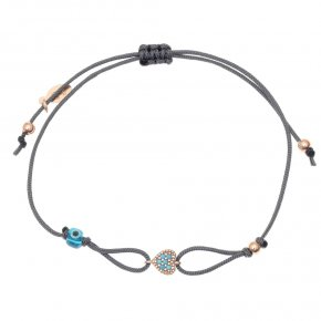 Cord Bracelet in silver 925, pink gold plated with coloredzirconia