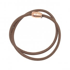 Leather Bracelet pink gold plated with magneticclasp.