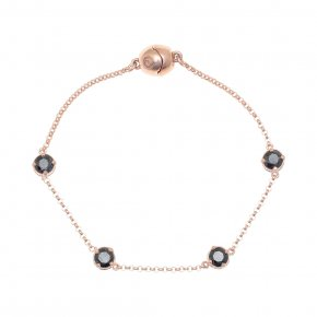 Bracelet out of metal pink gold plated with black zirconia and magneticclasp.