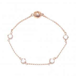 Bracelet out of metal pink gold plated with white zirconia and magneticclasp.