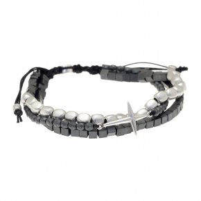 Cord Bracelet in silver 925, rhodium plated withhematite