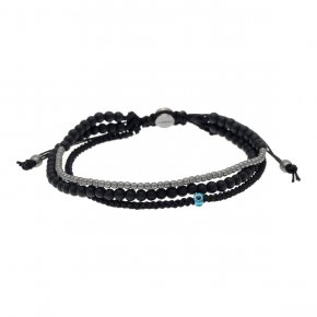 Cord Bracelet in silver 925 black rhodium plated with onyx