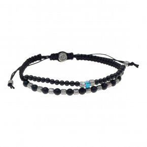 Cord Bracelet in silver 925, black rhodium platedwith onyx