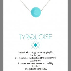 Necklace in silver 925, rhodium plated andturquoise