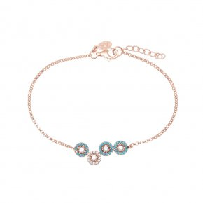 Bracelet in silver 925, pink gold plated with white andturquoise zirconia