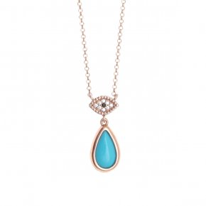 Necklace silver 925, pink gold plated with white zirconia andturquoise