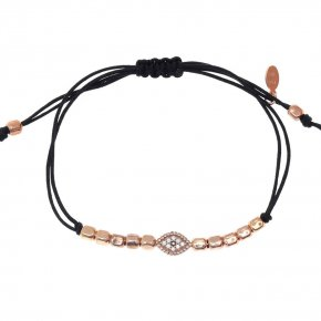 Cord bracelet silver 925 pink gold plated with white zirconia