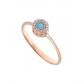 Ring silver 925 pink gold plated with colored zirconia
