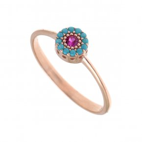Ring silver 925, pink gold plated with colored zirconia