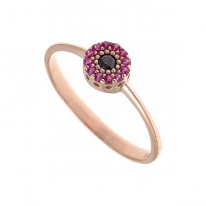 Ring silver 925, pink gold with colored zirconia