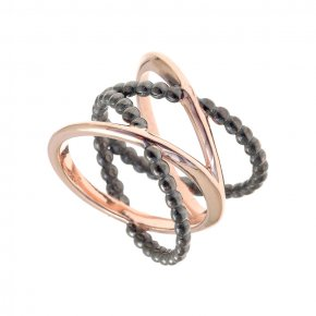 Ring Silver 925, pink gold and black rhodiumplated
