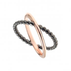 Ring Silver 925 pink gold and black rhodium plated