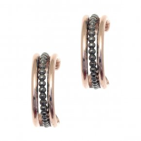 Earrings Silver 925 pink gold and black rhodium plated