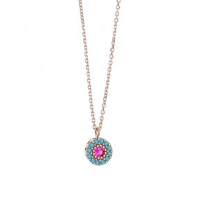 Necklace in silver 925, pink gold plated with coloredzirconia