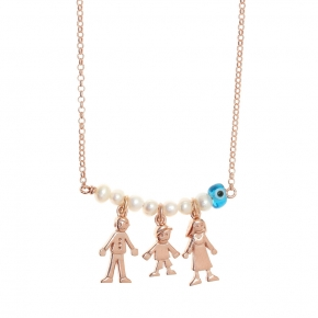 Necklace in silver 925 pink gold plated with fresh water pearls