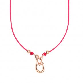 Cord Necklace, silver 925, pink gold plated