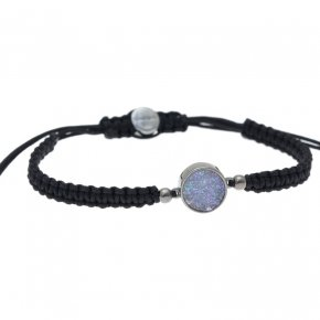 Cord Bracelet in silver 925, black rhodium plated withagate