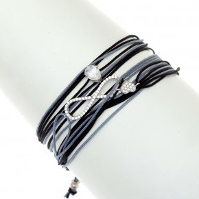 Cord Bracelet in silver 925, rhodium plated with white zirconia