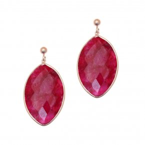 Earrings Silver 925, pink gold plated with ruby