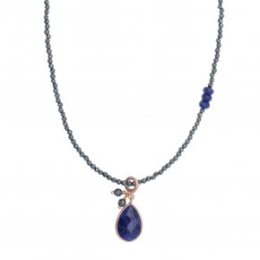 Necklace in silver 925, pink gold plated with sapphire andhematite