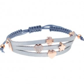 Cord Bracelet in silver 925, pink gold plated with white zirconia