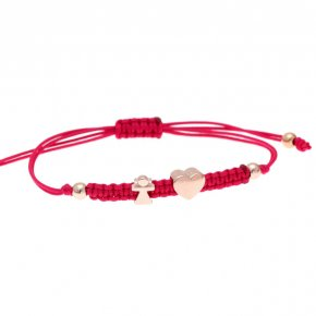 Cord Bracelet in silver 925 pink gold plated