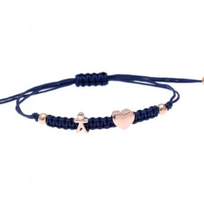 Cord Bracelet in silver 925, pink gold plated