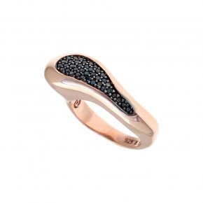 Ring Silver 925 pink gold plated with black spinel